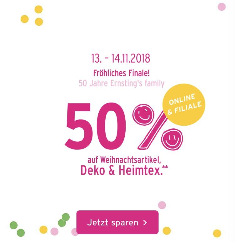[Ernstings Family] 50% auf weihnachtsdeko und heimtex