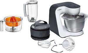 Küchenmaschine Bosch StartLine MUM50123 (800W, 3.9l-Edelstahlschüssel, Knethaken & Schlag- und Rührbesen, Mixer-Aufsatz, Zitruspresse)