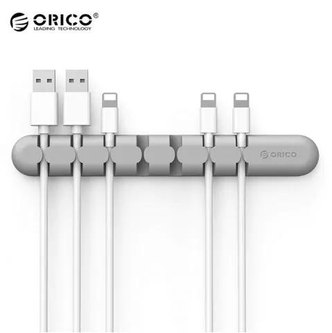 Kabelhalter Orico CBS7 (für 7 Kabel, Silikon, Rückseite mit doppelseitigem Klebeband, grau)