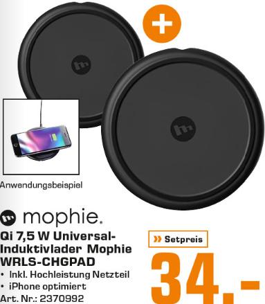 2x Mophie kabellose QI-Ladestation optimiert für iPhone 8/8 Plus und iPhone X/XR/XS (7,5W) schwarz