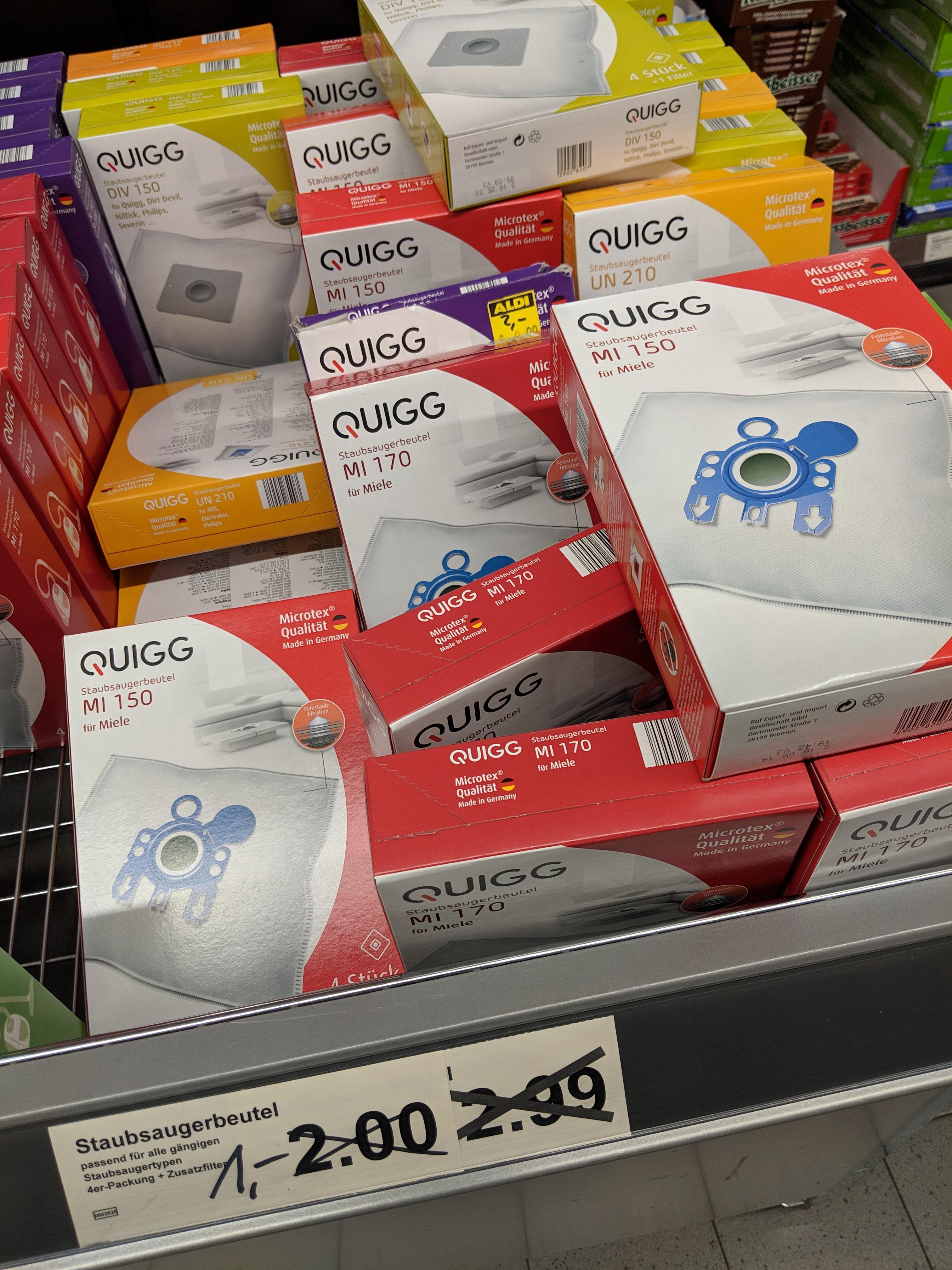 Staubsaugerbeutel Quigg, diverse Hersteller nur 1 EUR [Lokal?]