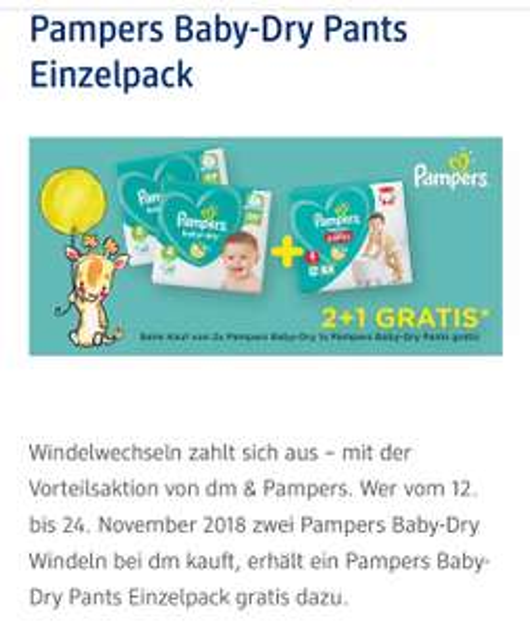 dm 2 pakete pampers baby dry kaufen 1 packung pampers baby dry pants gratis dazu. Black Bedroom Furniture Sets. Home Design Ideas