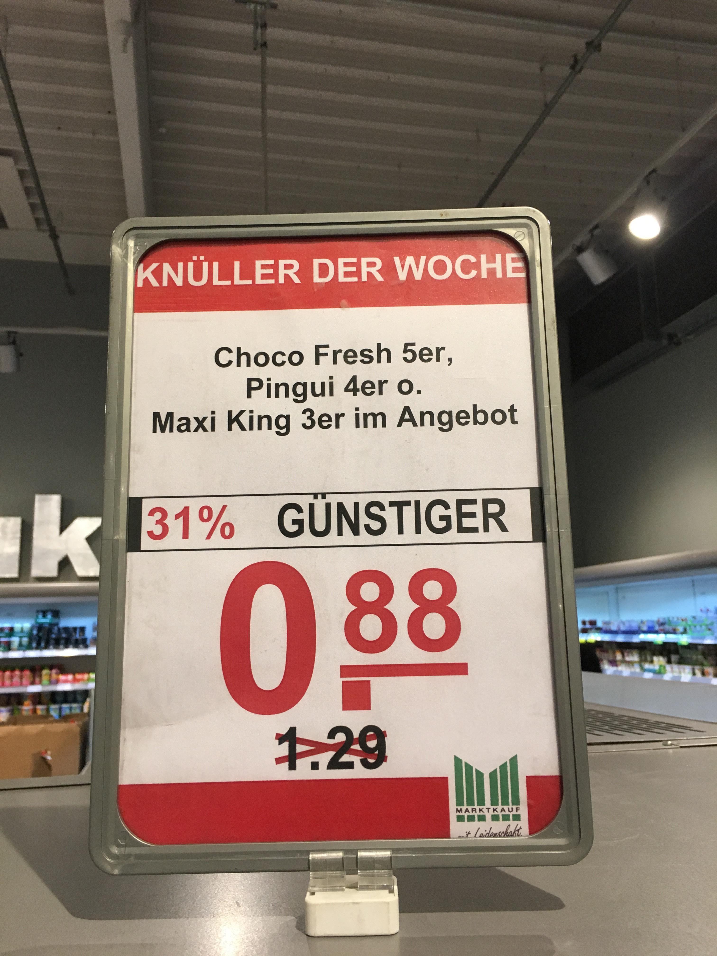 Marktkauf - 3er Maxi King, 4er Kinder Pinguin oder 5er Choco Fresh für je 88ct