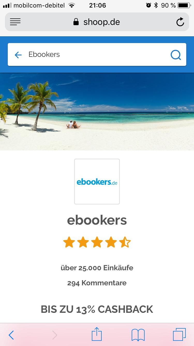 [Shoop] 13 % Cashback für Hotels über ebookers