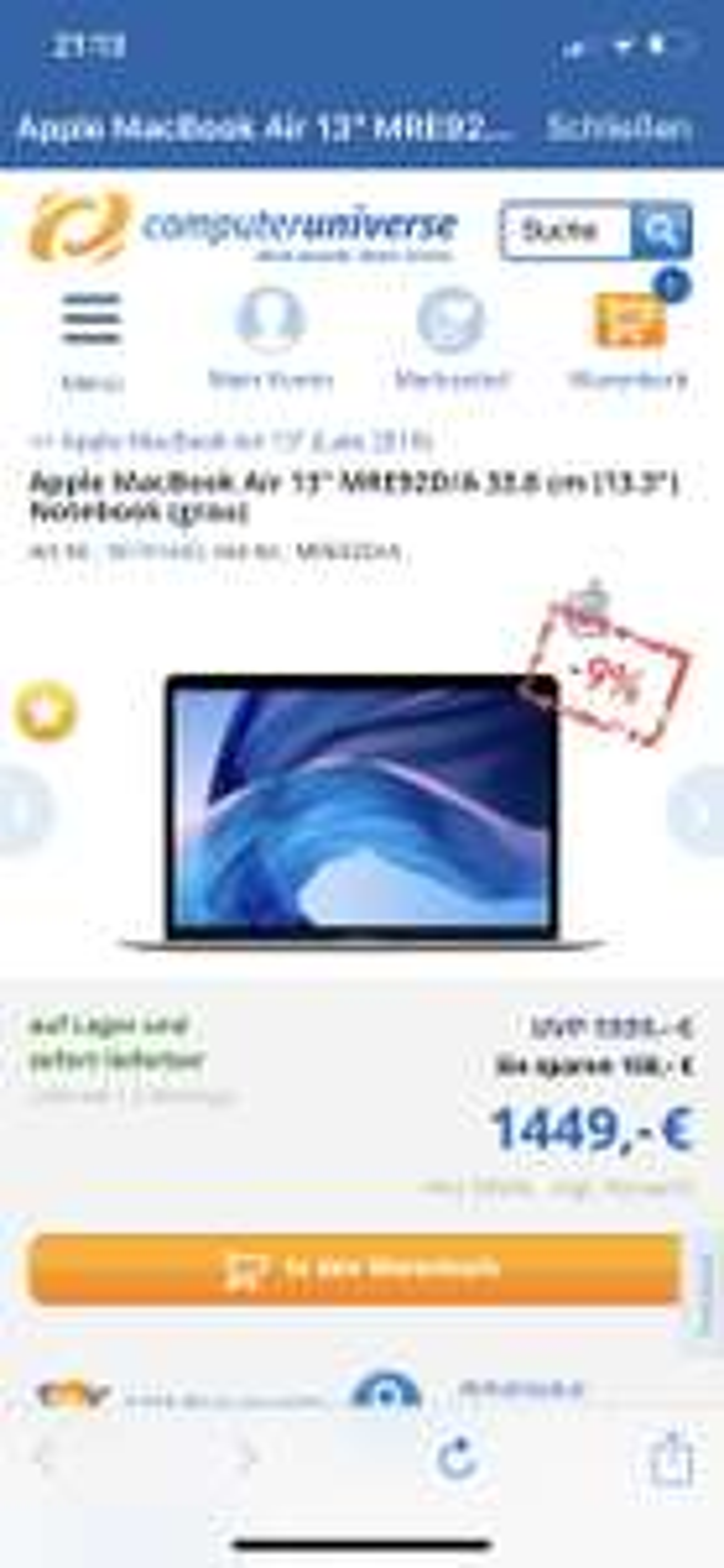 MacBook Air 2018 256GB SSD i5 1,6 - 3,6 GHz Dual Core 8GB RAM