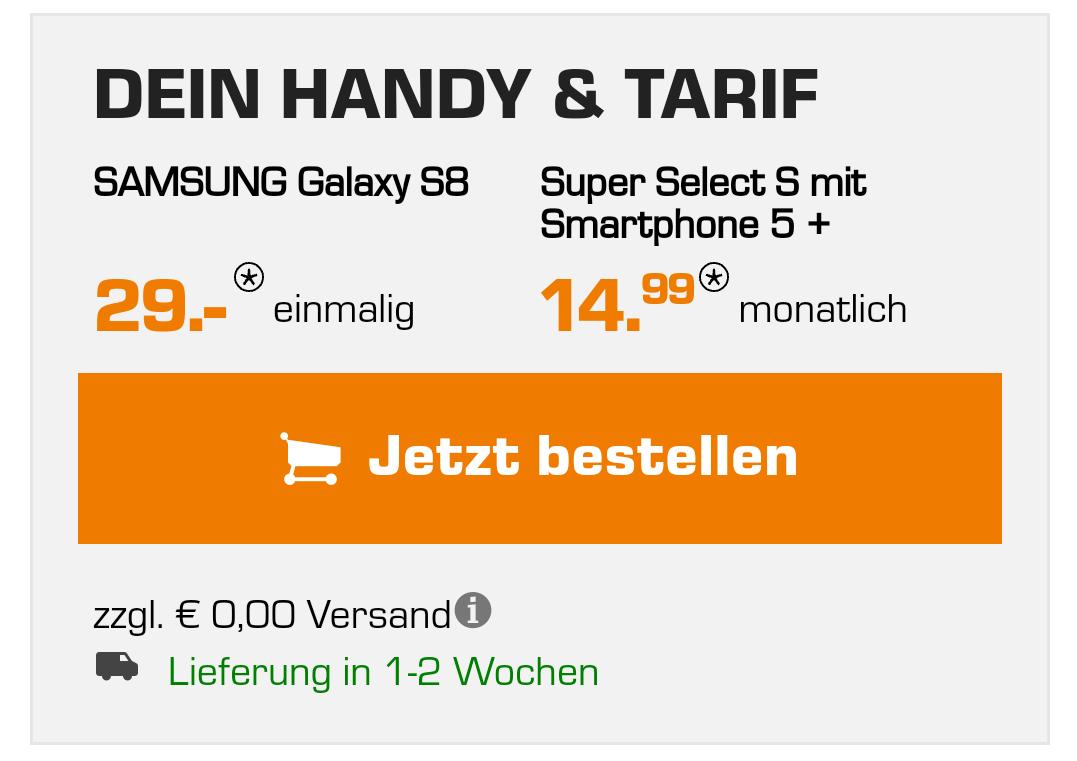 [Saturn & MediaMarkt] Samsung Galaxy S8 mit Vertrag O² SuperSelect Allnet-Flat 3 GB LTE für 14,99€ EUR/Monat + 8€ Shoop