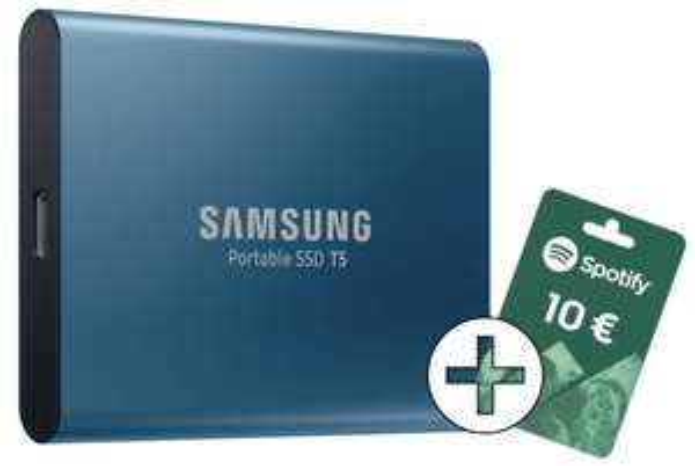 Samsung Portable SSD T5 250GB plus 10€ Spotify Guthaben gratis für 62,89€ inkl. Versandkosten [Alternate Paydirekt]