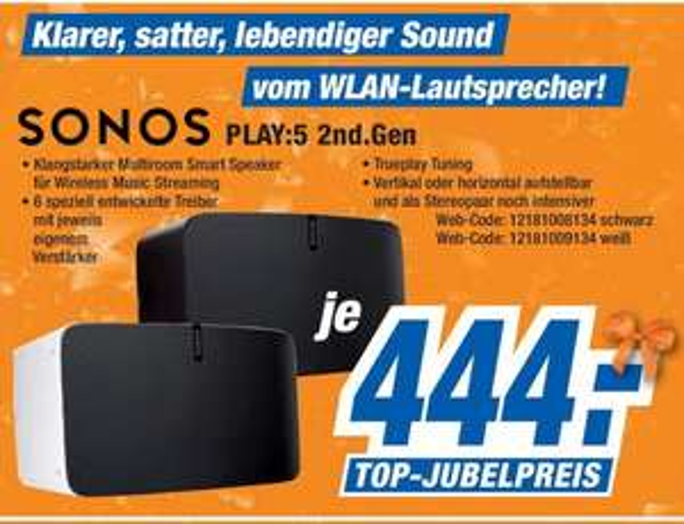 [Lokal expert Bielinsky] Sonos Play:5 (2. Generation) schwarz / weiß für 444€