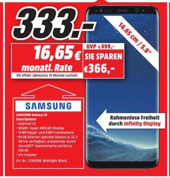 [Media Markt] Samsung Galaxy S8 - 333€  /  iPhone SE 249€ [Lokal Nürnberg]