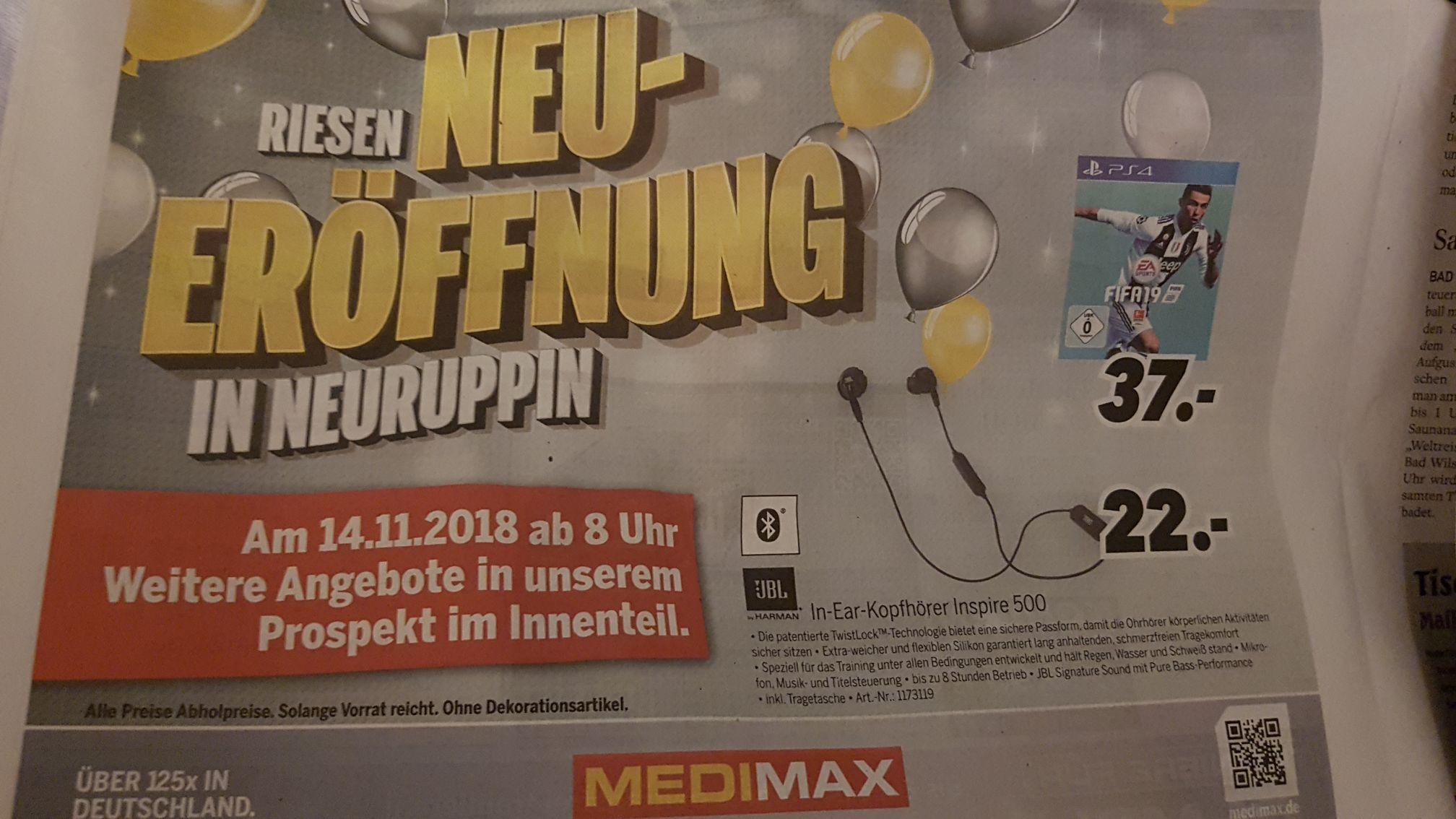 Medimax Neuruppin - Fifa 19 (PS4) für 37,- und JBL Inspire 500 für 22,-