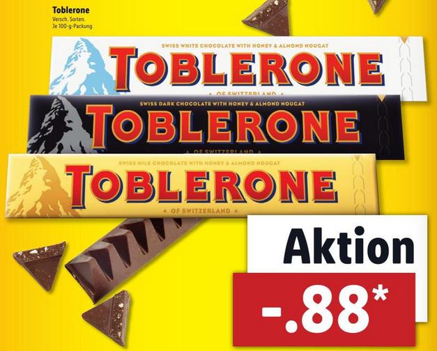 Toblerone in versch. Sorten für 88 Cent [Lidl ab 23.11.]