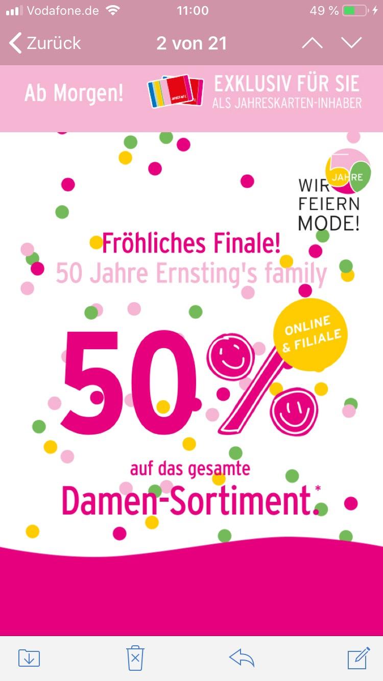 [Ernsting's Family] Für Jahreskarteninhaber ab morgen 50% auf Damenkleidung