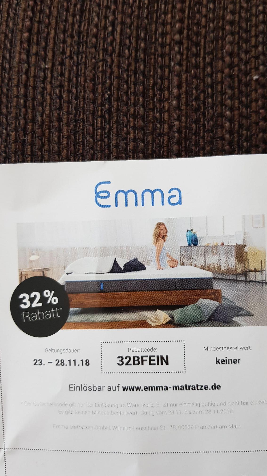 32% Rabatt bei Emma-Matratze.de Matratze