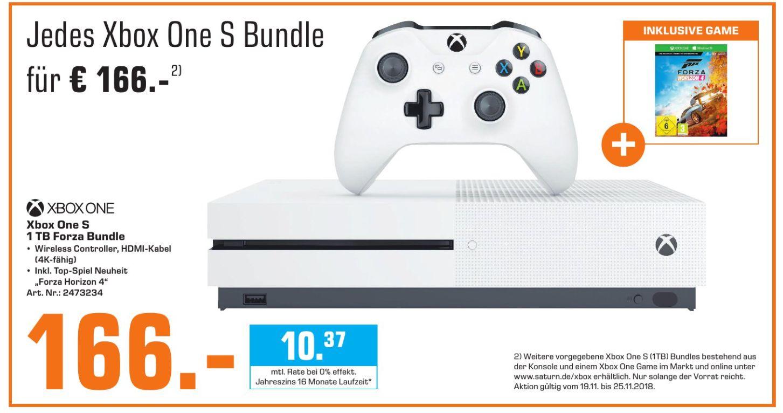 [Saturn-Mediamarkt] Verschiedene Xbox One S Konsolen mit 1TB inc.Game für je 166,-€ **+ 5fach Bits**