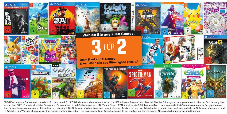 [Saturn ab 19.11] Neue Multibuy Aktion. 3 Games zum Preis von 2  aus dem gesamten Games-Sortiment