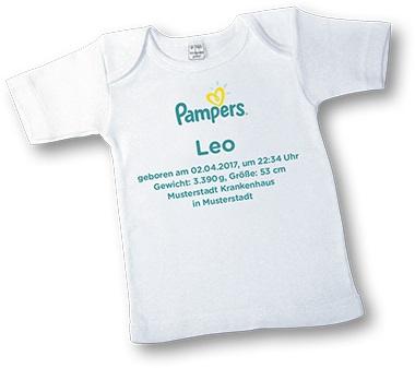 Pampers - persönliches T-Shirt für Babys kostenlos bestellen