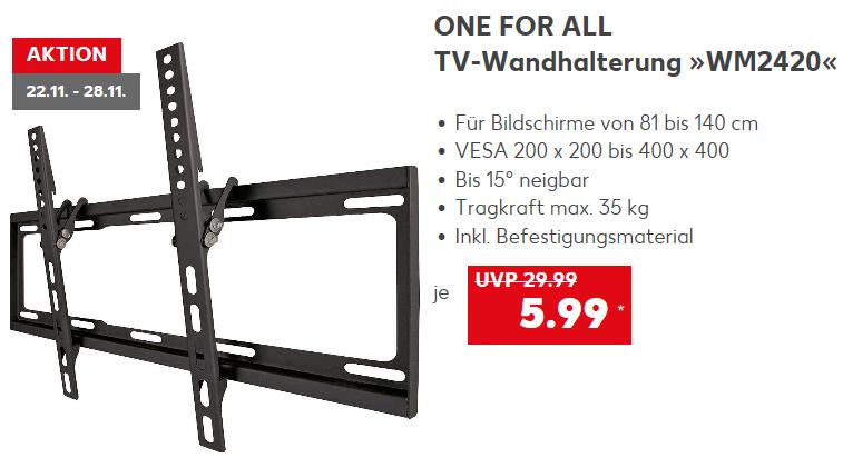 """ONE FOR ALL TV-Wandhalterung """"WM2420"""" 32 - 55 Zoll (bis 140 cm) bis 35kg VESA für 5,99 € @ Kaufland bundesweit ab 22.11."""