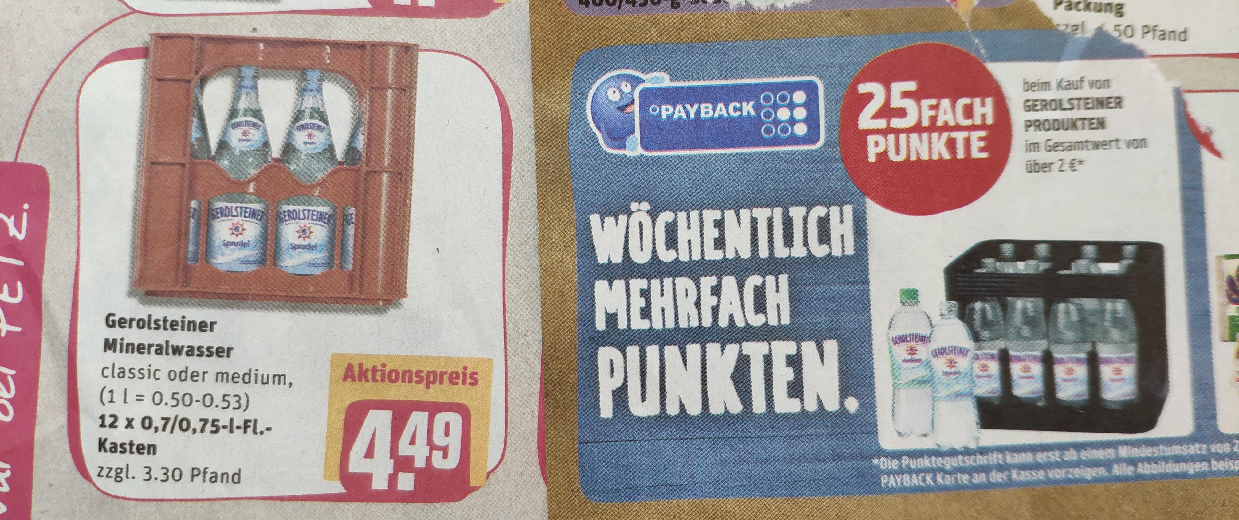 [Lokal, Rewe Bonn/Rhein-Sieg] Gerolsteiner + 25-fach Payback Punkte - Medium und Sprudel