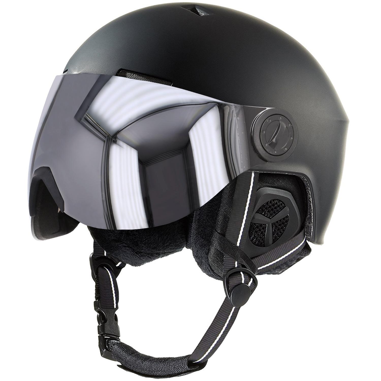 Stuf Snow Visor Ski/Snowboard-Helm mit Visier (schwarz, Größen S bis XL)