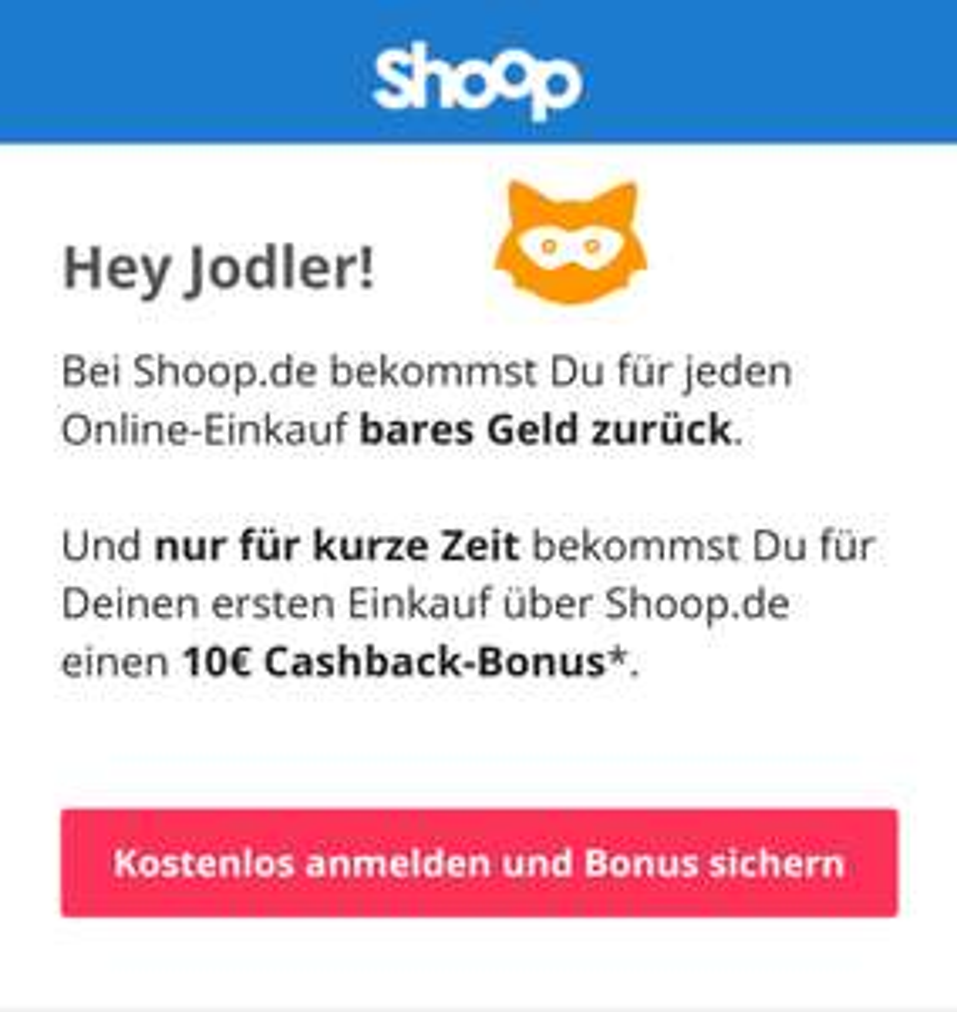 10€ Shoop Bonus für Neukunden bei 10€ mbw