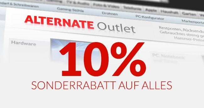 [Alternate Outlet] 10% Rabatt auf Outlet Artikel