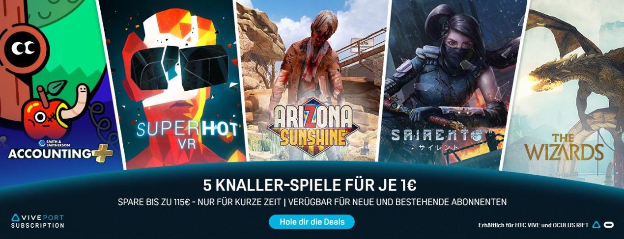 Viveport: Arizona Sunshine, Superhot VR, Accounting+, Sairento, The Wizards für je 1€ + 5 Games für 2 Wochen leihen + 10$ Viveport Wallet