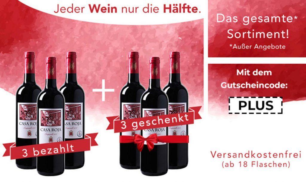 Bei Weinvorteil gibt es heute50% Rabatt auf alle nicht reduzierten Weine