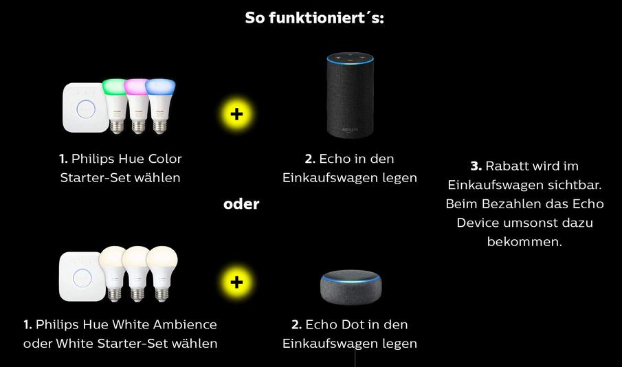 Philips Hue Starter-Set(s) + Echo (2. Gen) oder Echo Dot (3. Gen)