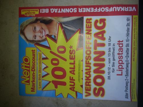 [Lokal Lippstadt] 28.10. Verkaufsoffener Sonntag: Netto Markendiscount (10% auf alles)