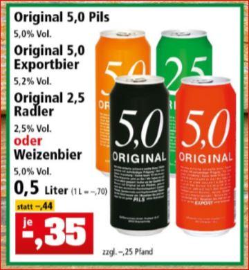 5,0 Original Pils, Weizenbier, Export Bier und 2,5 Original Radler für 35 Cent. [Thomas Philipps]