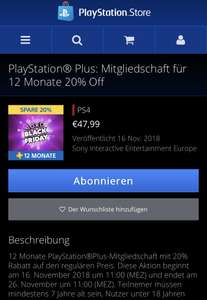 PlayStation Plus 12 Monate Mitgliedschaft [PlayStation Store]