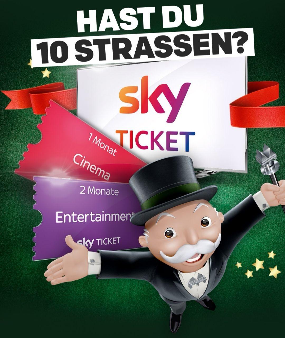 Sky Ticket Neukunden: 2 Monate Entertainment oder 1 Monat Cinema für 10 beliebige (auch doppelte) McDonald's Monopoly Straßen