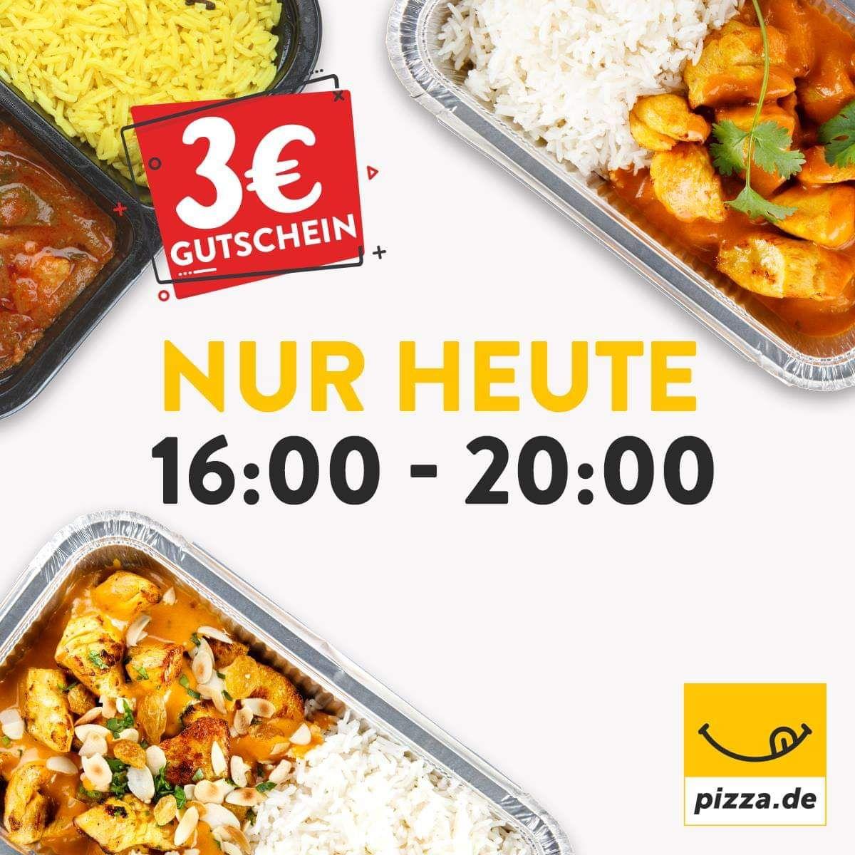 Pizza.de - 3€ Gutschein mit 8€ MBW ab 16 Uhr