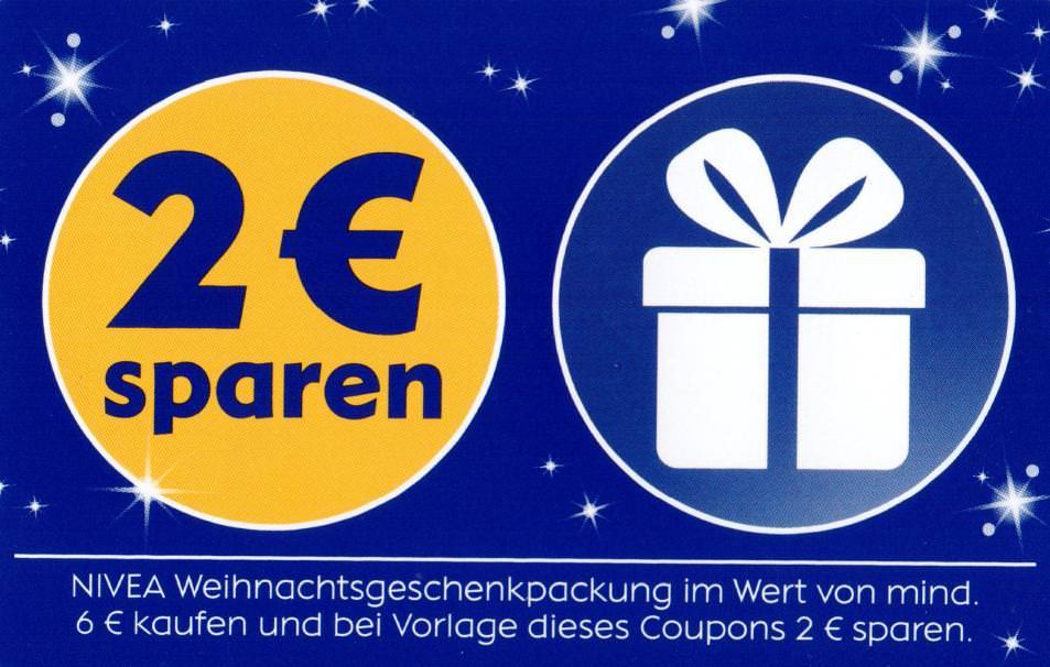 2€ Coupon für den Kauf von Nivea Weihnachtsgeschenkpackungen im Wert von min. 6€ [bundesweit in PDF] bis 09.12.2018
