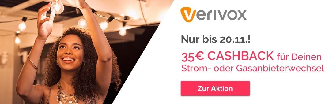 Shoop: 35 € Cashback für Strom- und Gasanbieterwechsel über Verivox