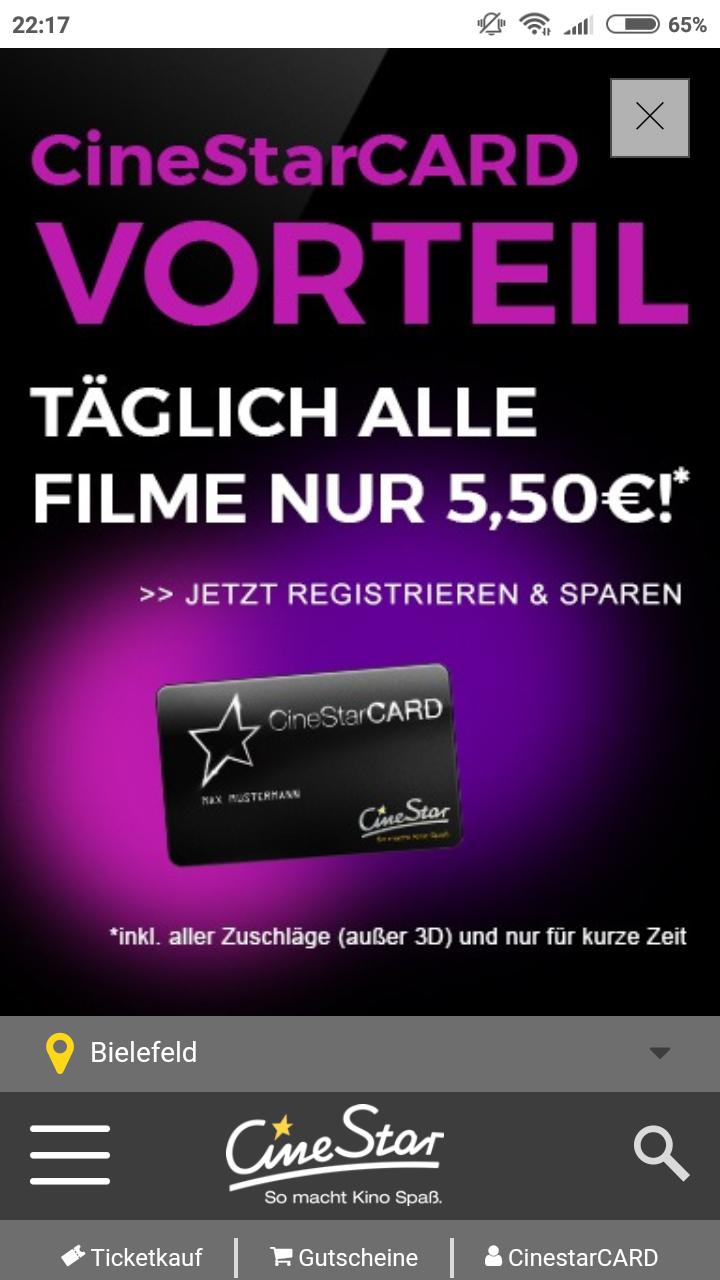 [LOKAL Bielefeld, Bremen] Mit CineStar Card für 5,50 €/Film