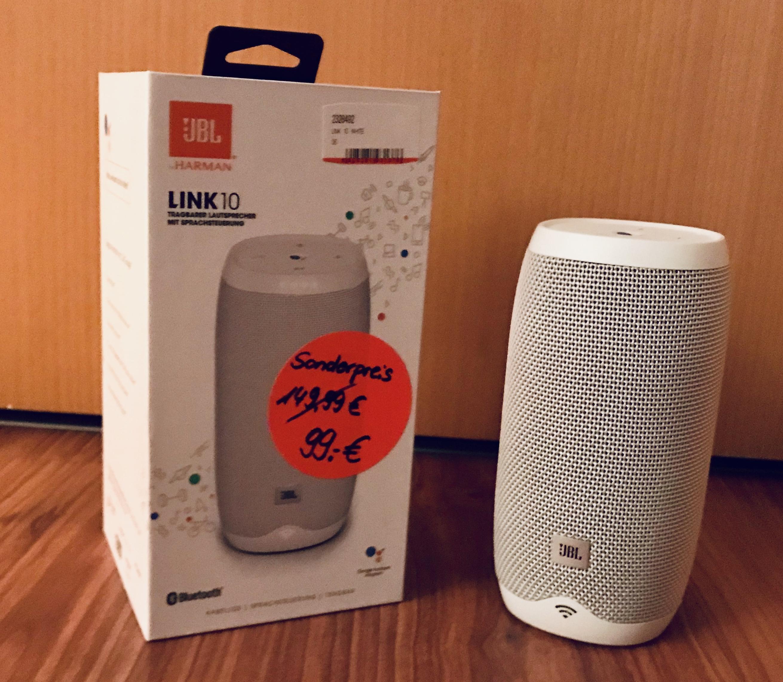 (Media Markt) JBL Link 10 weiß- Mobiler Multi-Room Lautsprecher mit Google Assistent, Chromecast, Wlan, Bluethooth (Lokal Bochum-Hofstede)