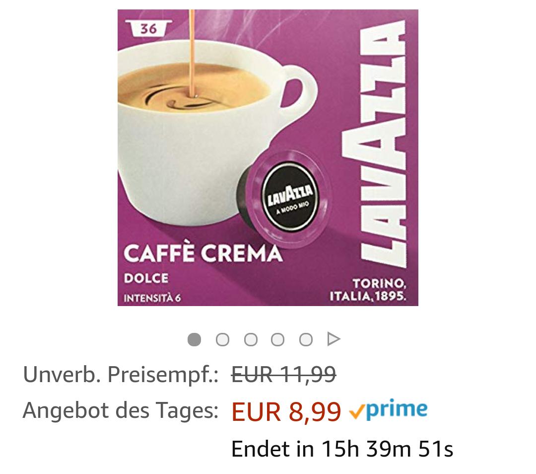 [Prime] Lavazza A Modo Mio Caffe Crema (Sparabo 8,54€ bzw. 7,64€)
