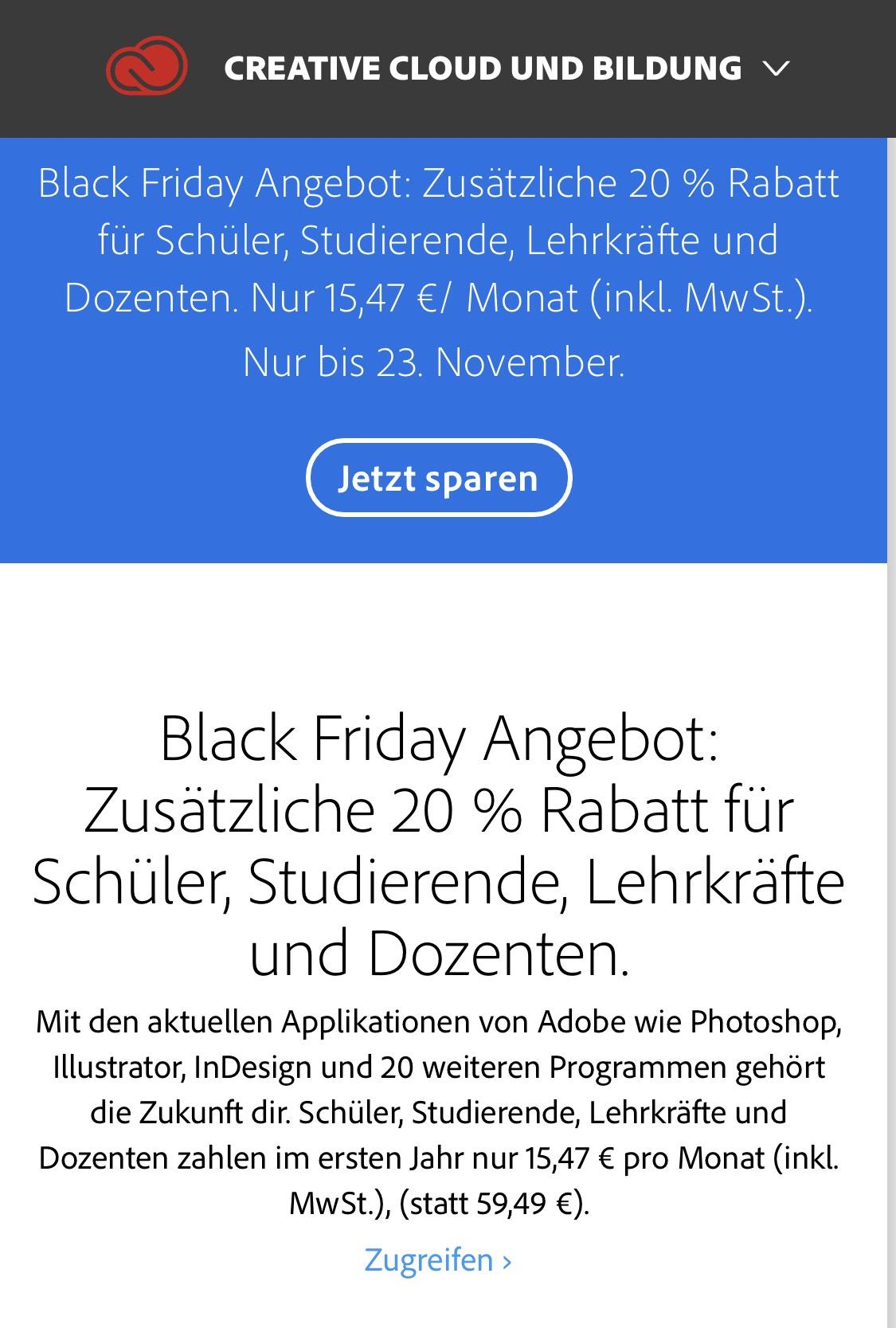 Black Friday: 20% Rabatt für Studenten auf Adobe Creative Cloud