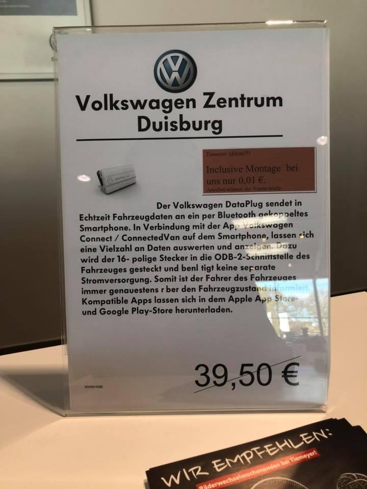 [LOKAL NRW] VW Data Plug Connected Drive für 0,01€ statt 39,50€ inkl. Montage