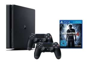 PlayStation 4 Slim 1TB + Uncharted 4: A Thief's End oder Mafia 3 + 2ter Controller (Neuware ohne Umverpackung) ab 222€ (GameStop)