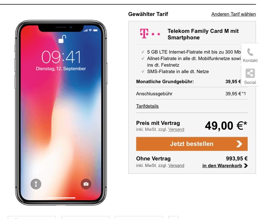 iPhone X mit Telekom Family Card M zum Bestpreis (nur für Bestandskunden)
