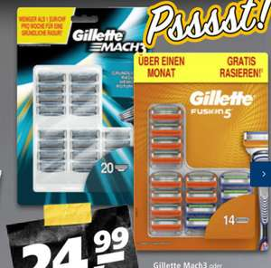 Gillette Fusion 5 1,78€/Klinge im 14er Pack
