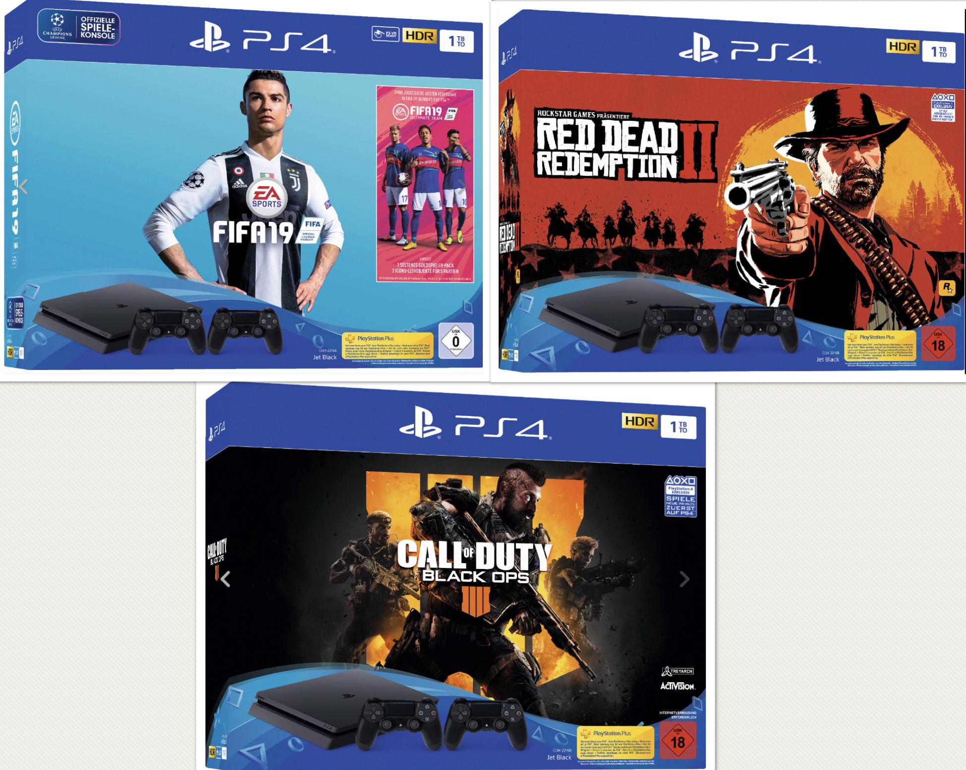 SONY PlayStation 4 1TB + 2. Controller + Fifa 19 für 305,10€ oder mit Red Dead Redemption 2 oder Call of Duty Black Ops 4 für 315,27€ m. C&C