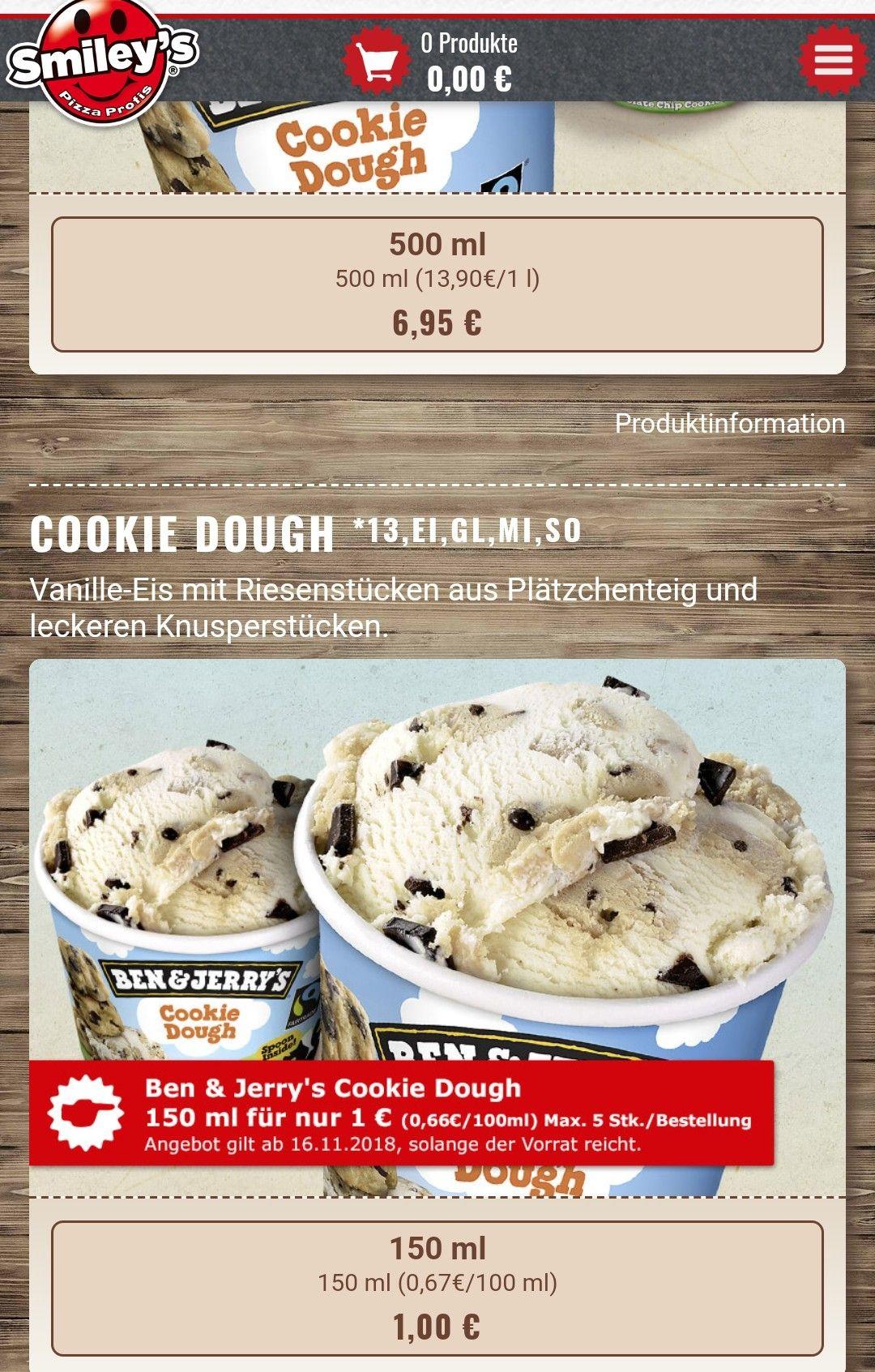 Smileys Pizza - Ben & Jerrys (Cookie Dough)