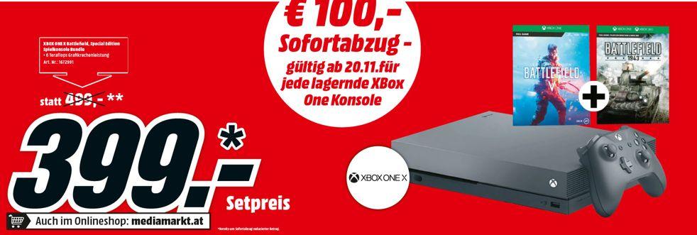 [Mediamarkt AT ab 20.11] 100€ Abzug auf jede lagernde Xbox. Zb. Xbox One X 1 TB Battlefield V Gold Rush Special Edition Bundle für 399,-€