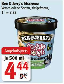 [Globus Rostock] Ben & Jerry's Eis - verschiedene Sorten - 500ml Becher - auch in Lautre