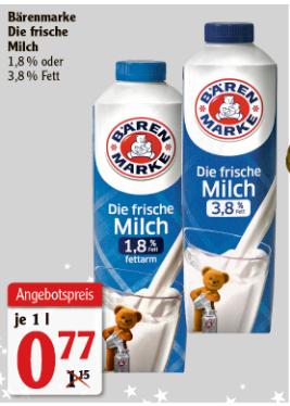 [Globus Kaiserslautern] 1l Bärenmarke Frische Milch - 1,8% oder 3,8% Fett