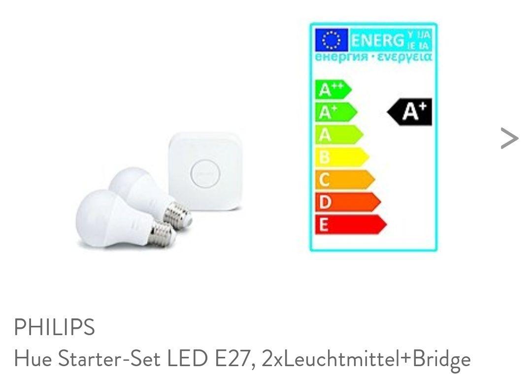 2 mal PHILIPSHue Starter-Set LED E27, 2xLeuchtmittel+Bridge  (brands4friends.de)