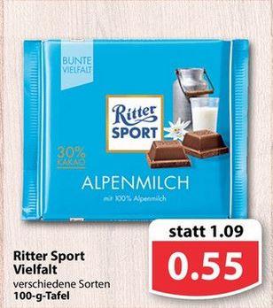 """Famila Nordwest: Ritter Sport """"Bunte Vielfalt"""" 100gr. für 0,55 Euro"""
